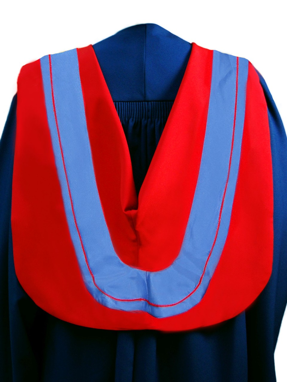The Master of Arts hood is red with wide blue border and red cording