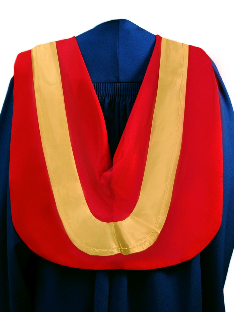 The Master of Science hood is red with wide gold border and gold cording