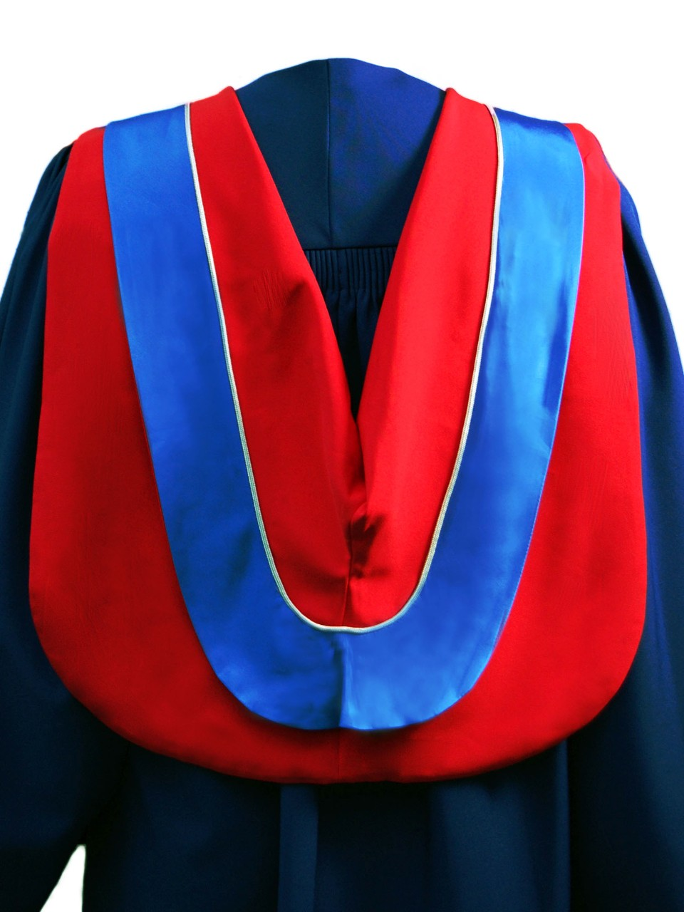 The Master of Business Administration hood is red with wide blue border and grey cording.