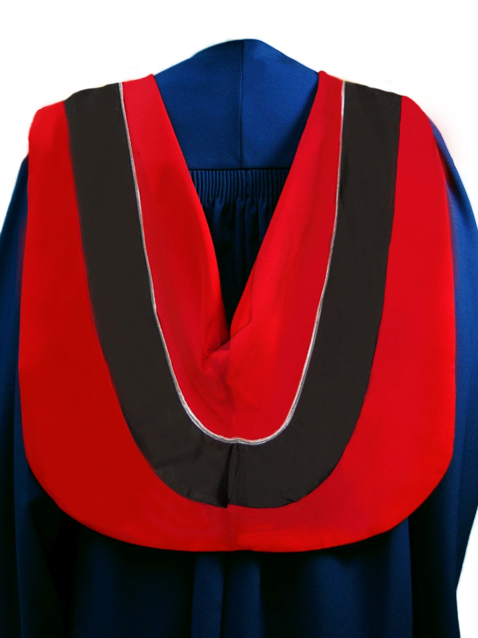 The Master of Digital Media hood is red with wide black border and grey cording