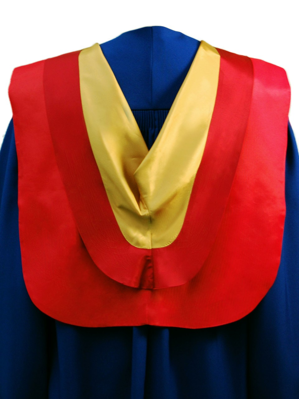 The Masters of Engineering hood is red with wide maroon border and gold underside.
