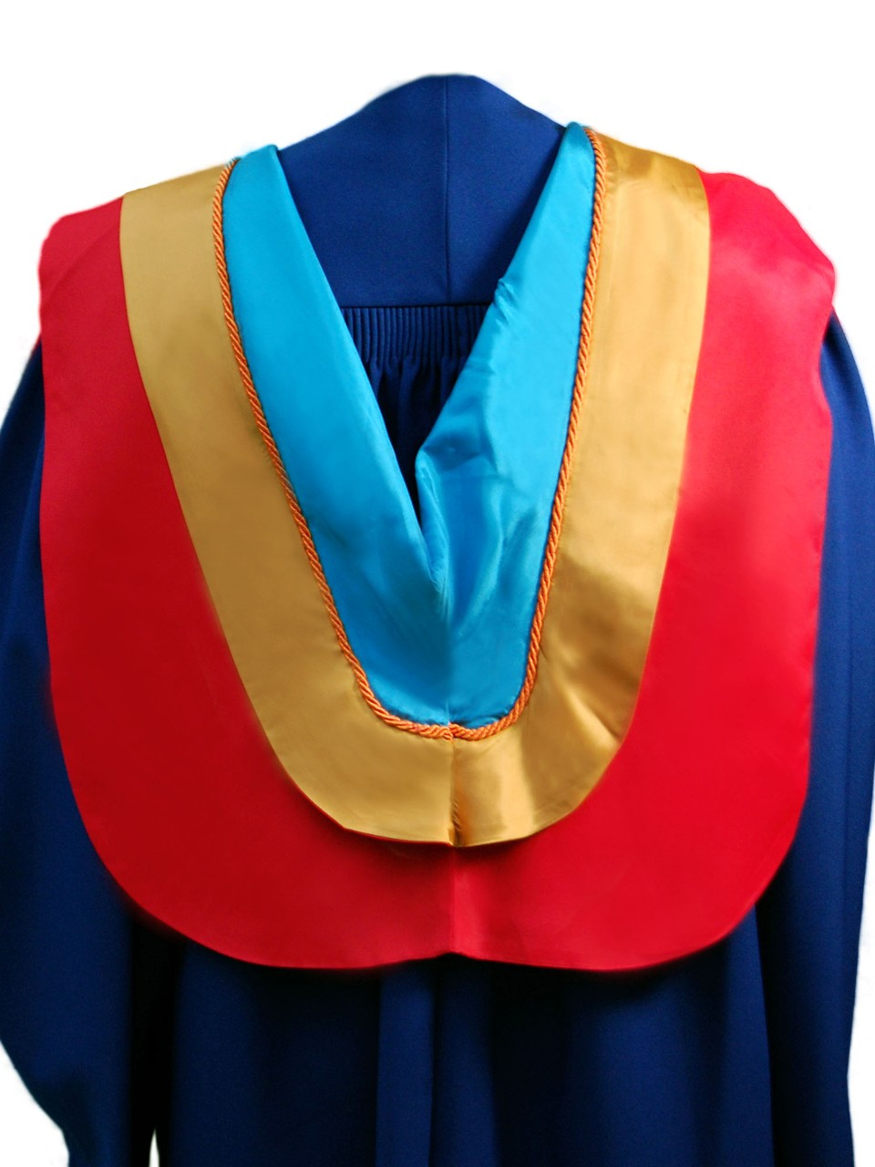 The Master of Environmental Toxicology hood is red with wide gold border, orange cording and aquamarine underside