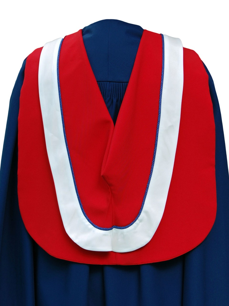 The Master of Education hood is wide white border and royal blue cording