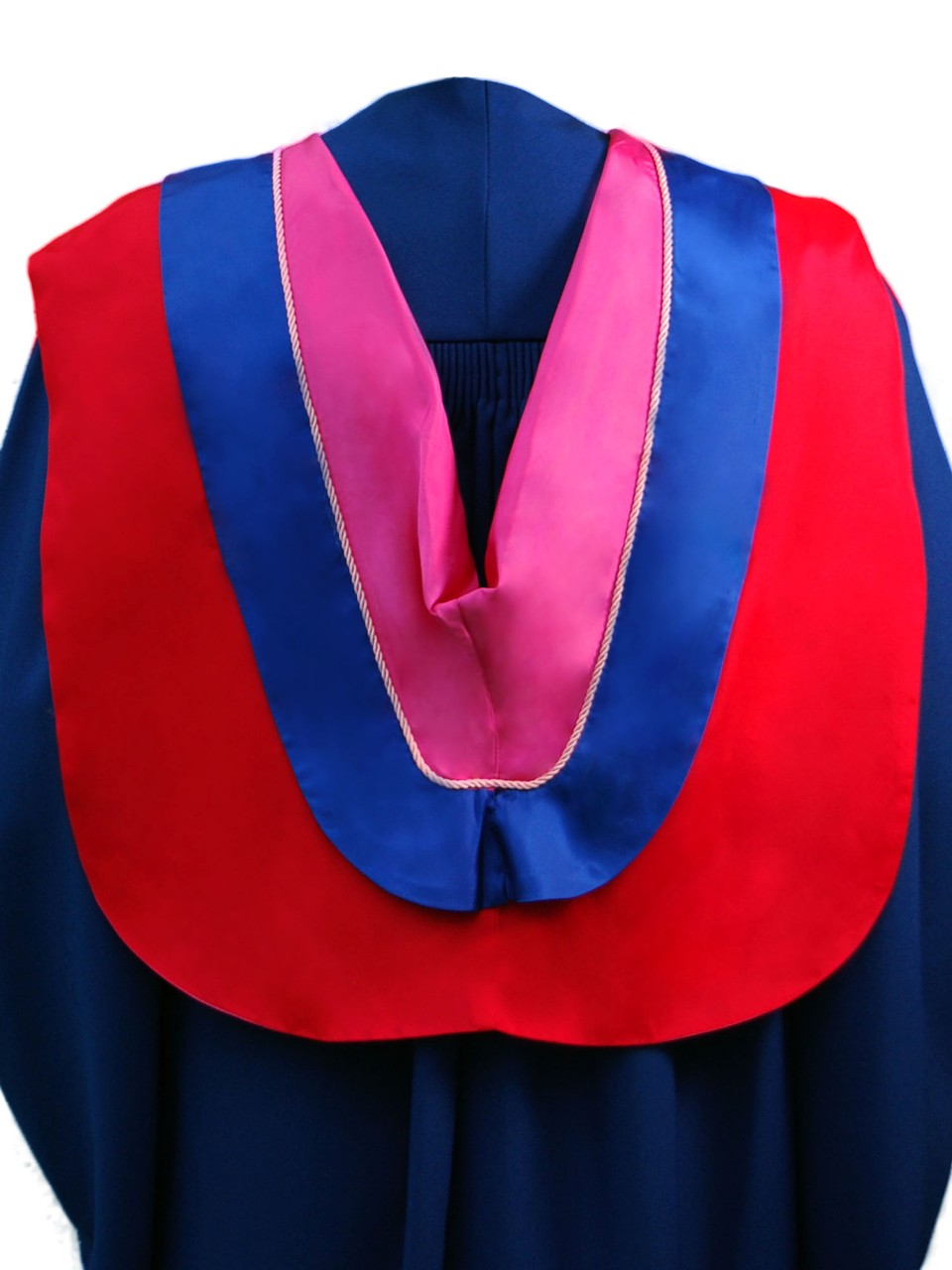The Master of Fine Arts hood is red with wide blue border, pink cording and cerise underside