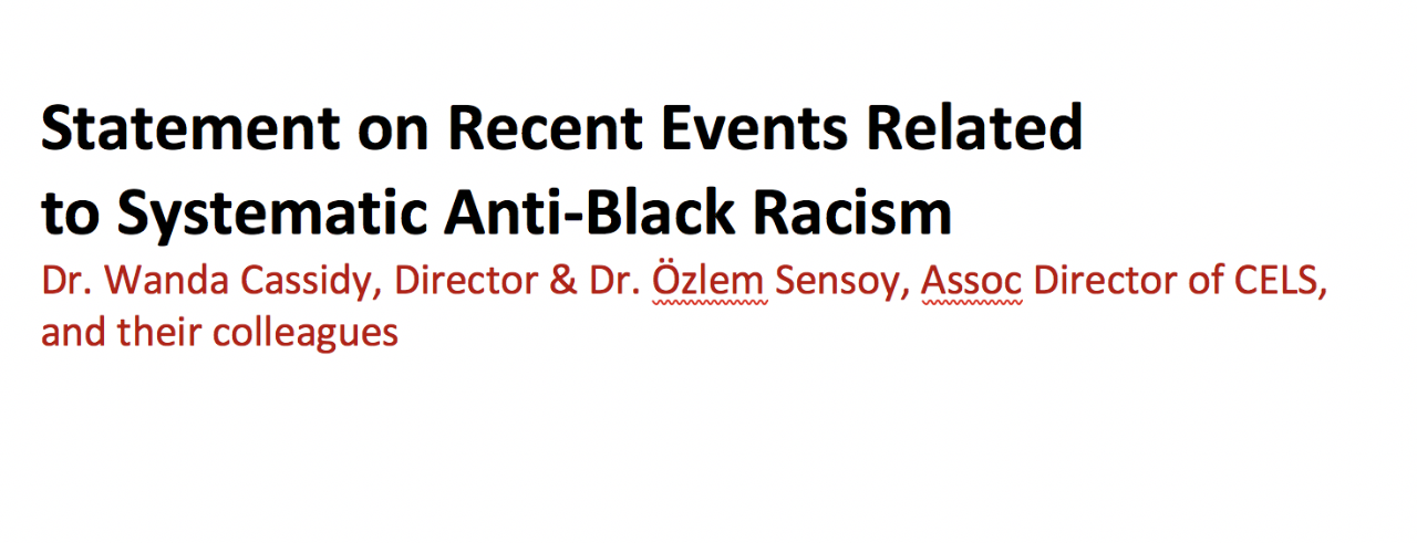 Statement on Recent Event Related to Systematic Anti-Black Racism