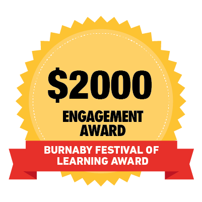 $2000 Burnaby Festival of Learning Community Engagement Award badge