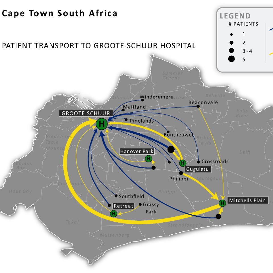 GIS map of patient to hospital transport