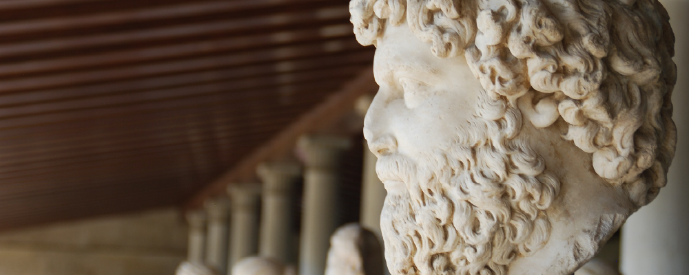 Greek bust in the Stoa of Attalos