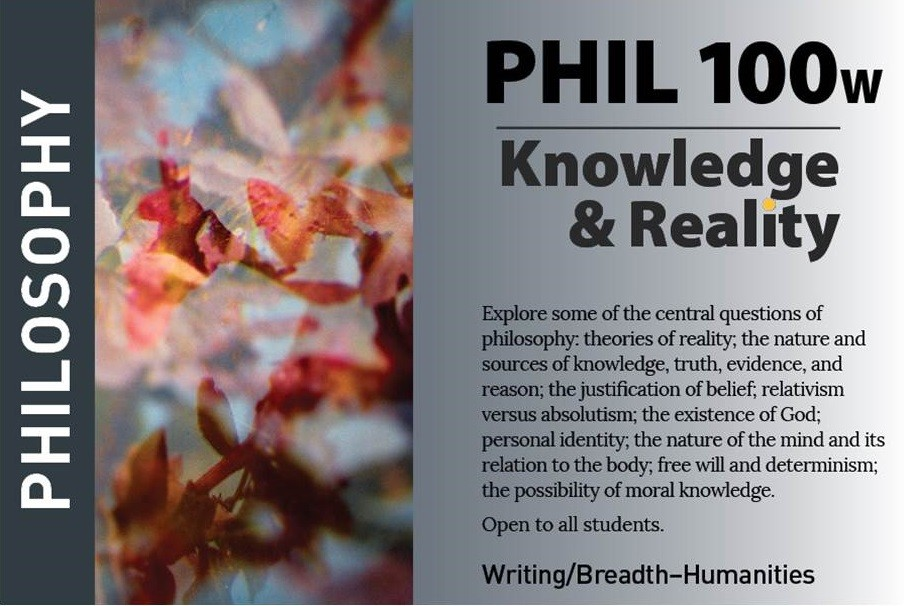 marketing postcard for philosophy course PHIL100W