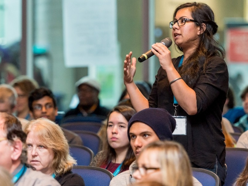 SFU student asking question at public event