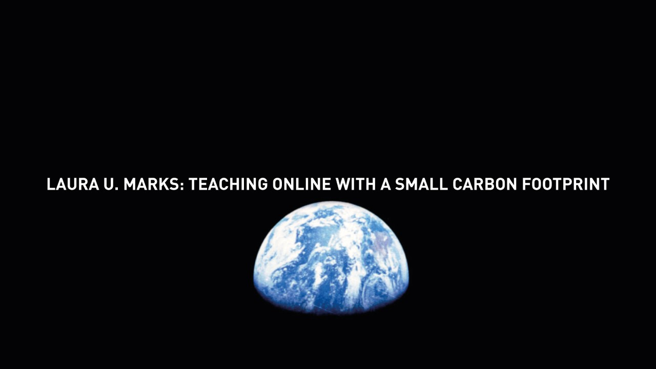 Laura U. Marks: Teaching online with a small carbon footprint
