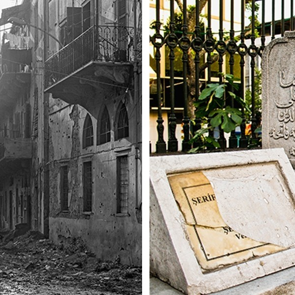 (Right) Walid Raad, Sweet Talk: Beirut (Commissions)_1992 (detail), 1992. Black and white photograph. © Walid Raad. (Left) Jalal Toufic, How to Read an Image Past a Surpassing Disaster no. 5 (detail), 2010. © Jalal Toufic.