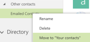 "Select ""Move to Your Contacts"" from the right click menu"