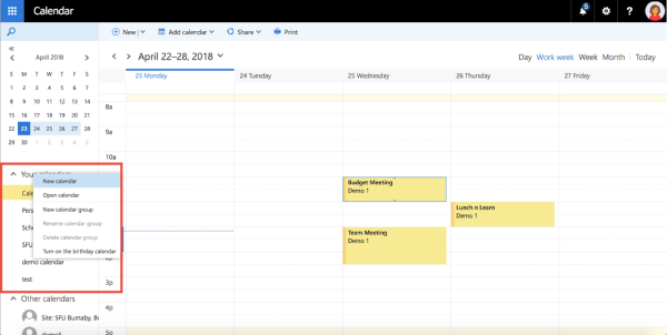 creating a calendar note sfu mail simon fraser university