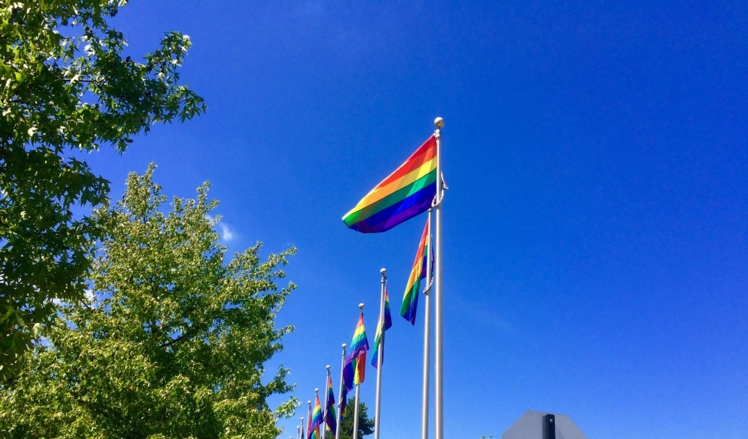 A pride flag flies against a blue sky on Burnaby campus
