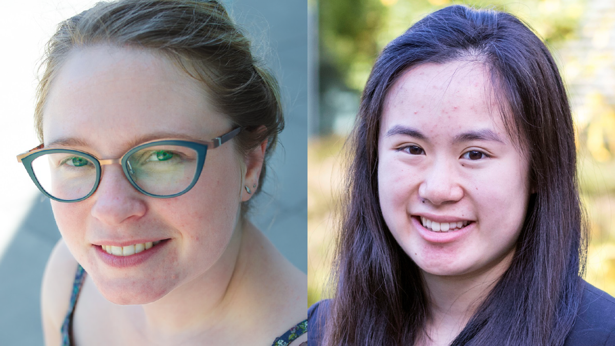 A composite photo of two people. Julia Lane smiles at the camera wearing blue glasses with her hair up in a bun, and Emily Lam smiles at the camera wearing a black shirt against a background of green foliage.
