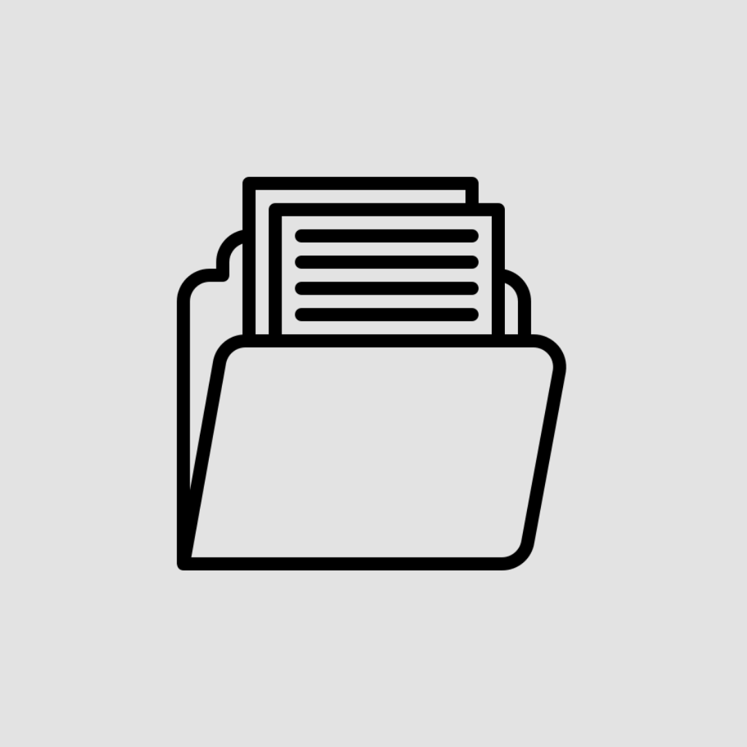 Black icon of a file folder with documents inside on a light grey background.