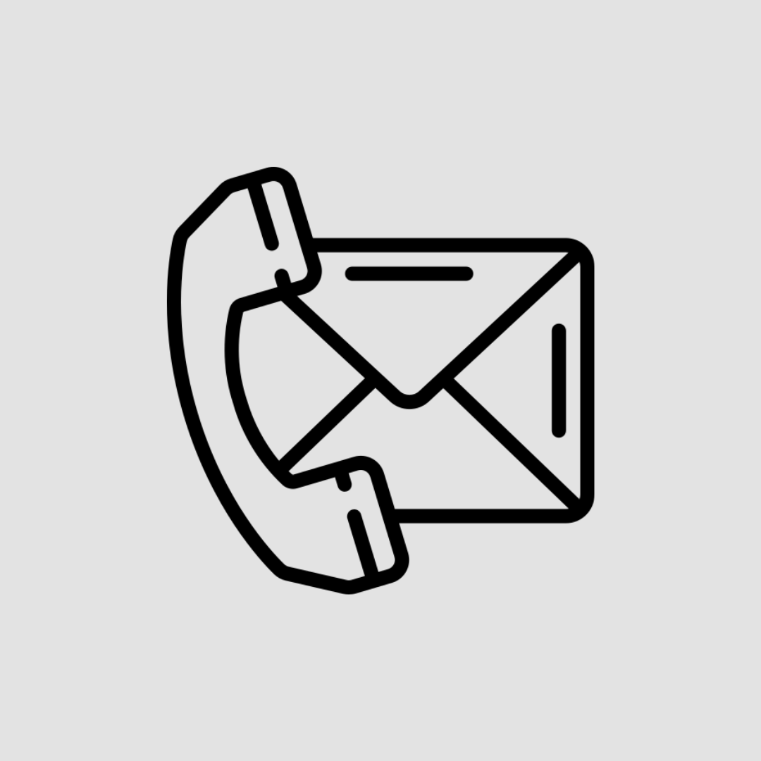 Black icon of a phone and envelope on a light grey background.