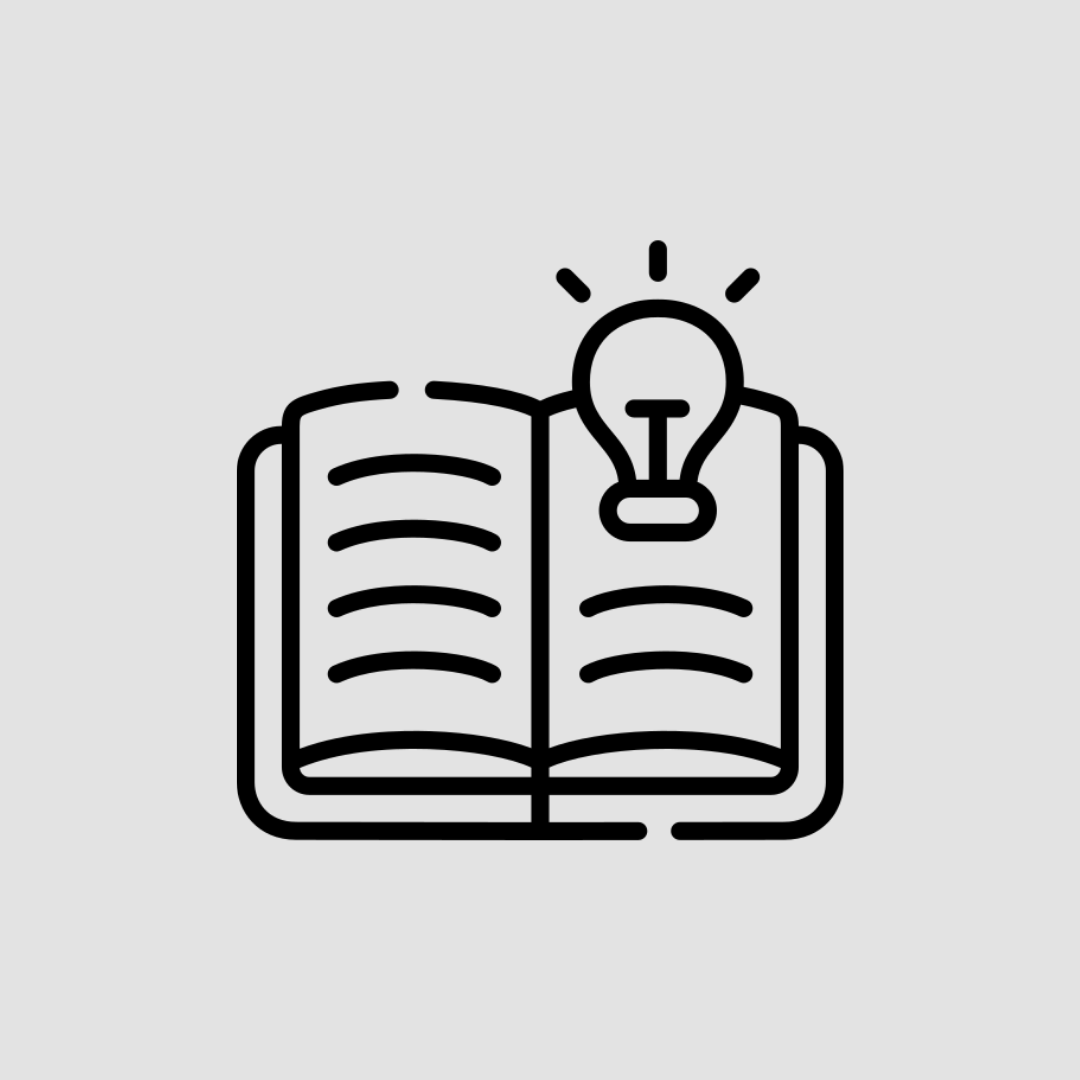Black icon of an open book with a lightbulb on it on a light grey background.