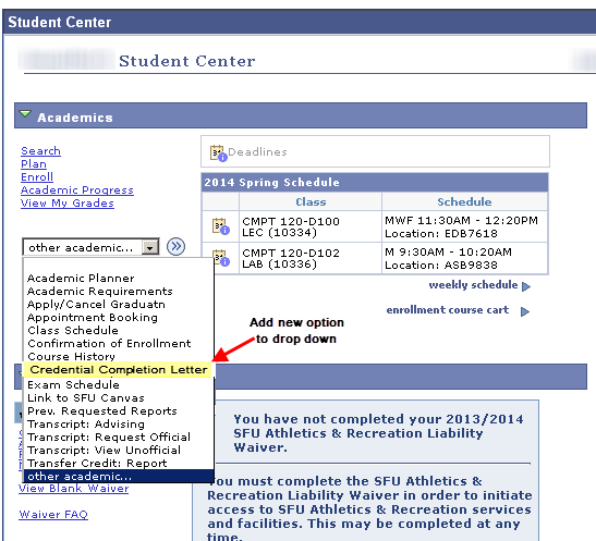 Screen capture showing the Student Center