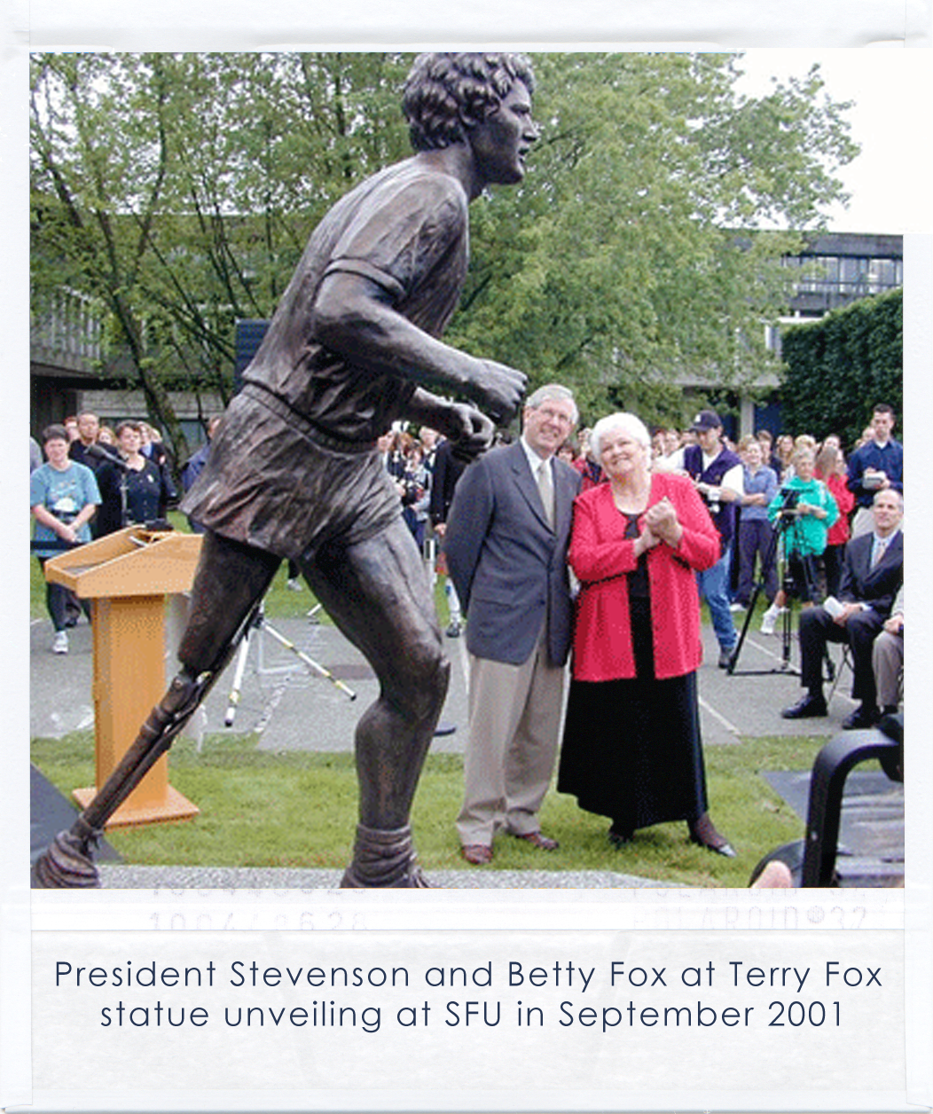 President Stevenson and Betty Fox at Terry Fox statue unveiling at SFU in September 2001