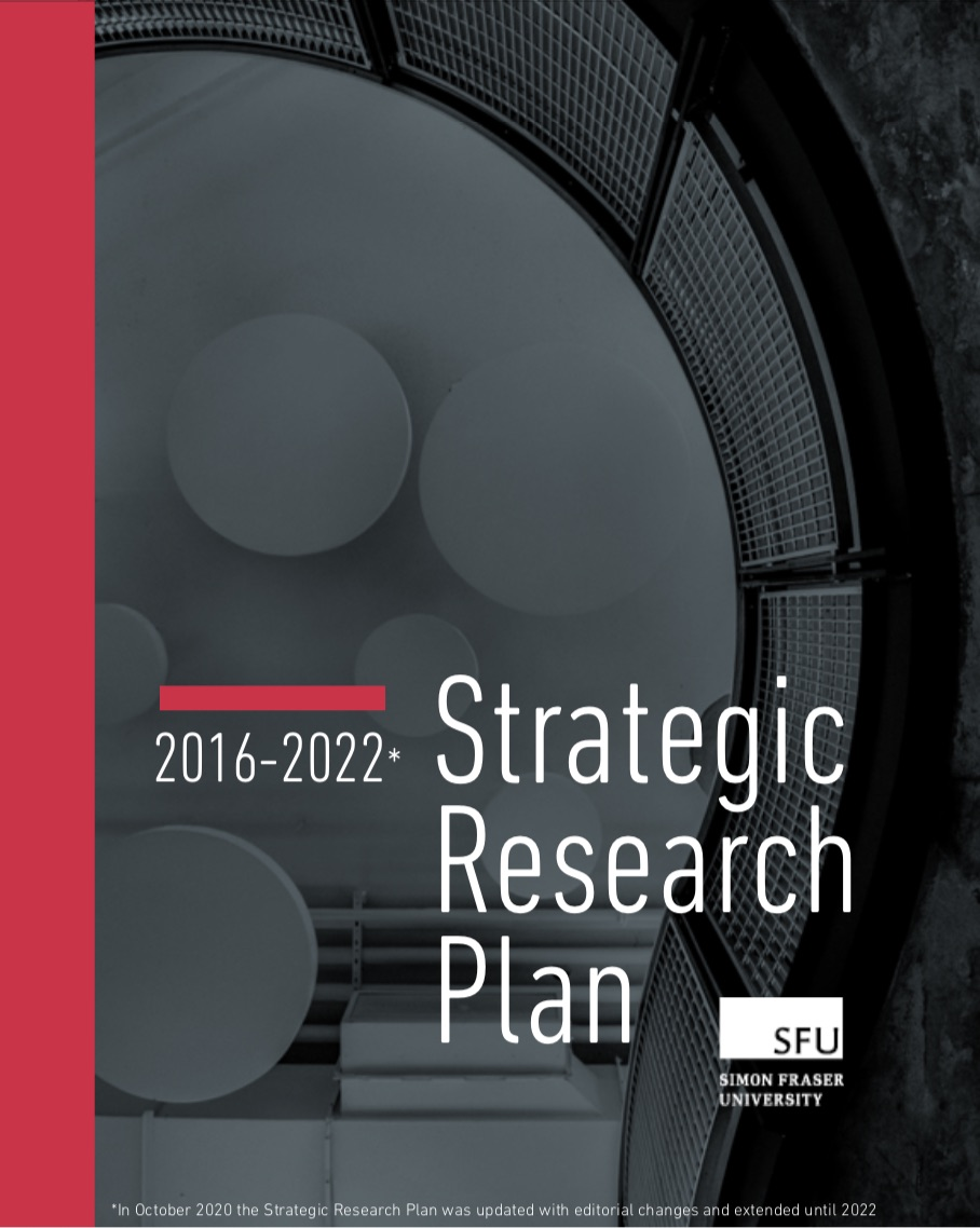 Cover page of SFU's 2016-2022 Strategic Research Plan document