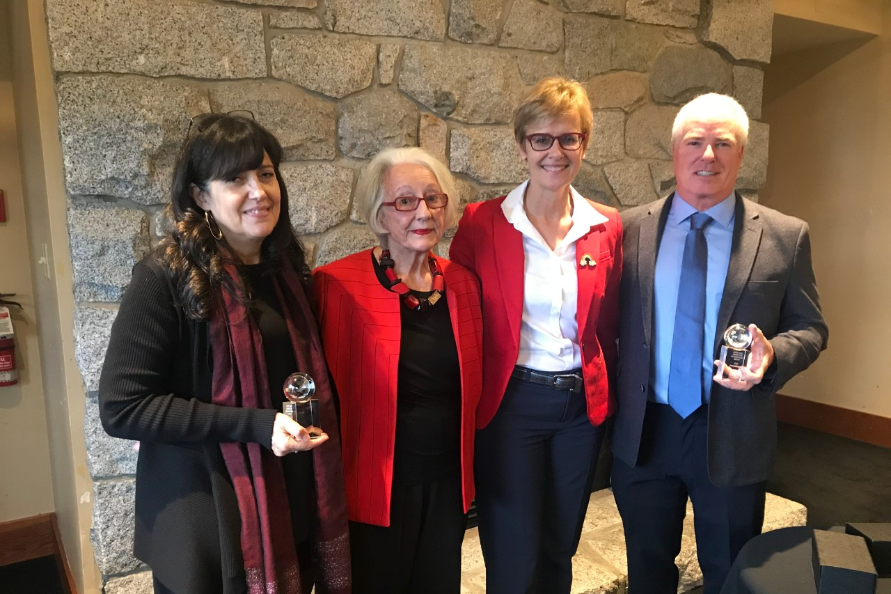 Catherine D'Andrea and Carl Lowenberger receive the 2019 Chris Dagg Award for International Impact